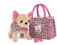 """Плюшевая собачка Чихуахуа """"Лео"""" с сумкой и ошейником 20см"""