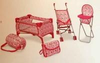 Набор для куклы /коляска, стул, кровать,сумка/ 9001 Melobo